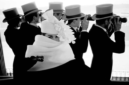 Hat by Givenchy,Longchamp Racetrack, Paris 1958 Model Bettina Graziani Bettina©Frank Horvat