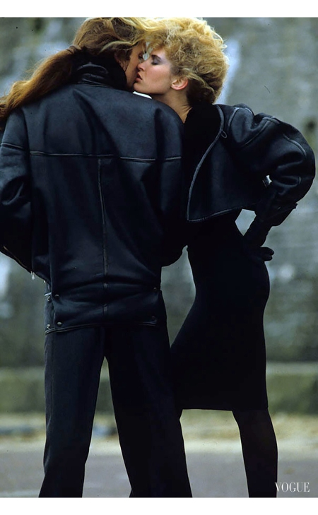 His-and-hers Azzedine Alaïa - worn by Attlia, left, and Patti McHugh Vogue, July 1983 © Hans Feurer