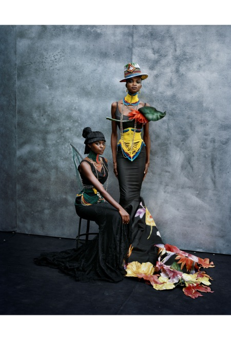 Kusudi and Kitu dresses, spring-summer 1997 John Galliano Dior Haute Couture collection, models Kiara Kabukuru and Debra Shaw Vogue Italia, March 1997 © Peter Lindbergh
