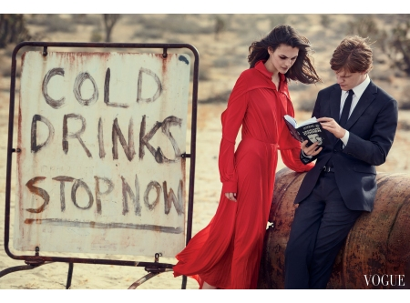 Lucas Hedges and Model Vittoria Ceretti Vogue Feb 2017 © Peter Lindbergh