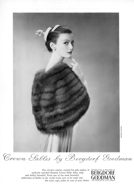 Mary Jane Russell is wearing a Russian Crown sable capelet by Bergdorf Goodman, photo by Richard Avedon, Vogue, May 1, 1954