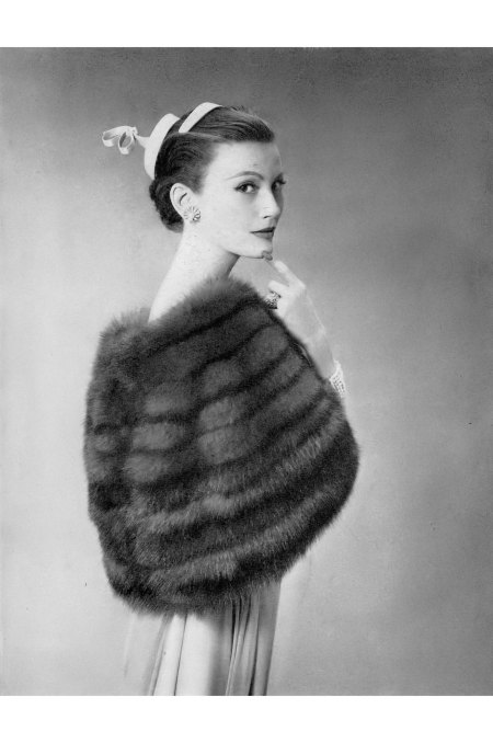 Mary Jane Russell is wearing a Russian Crown sable capelet by Bergdorf Goodman, Vogue, May 1, 1954 © Richard Avedon