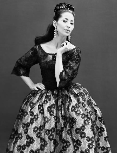 Model China Machado in a dress by Jacques Griffe, Paris, in August 1959