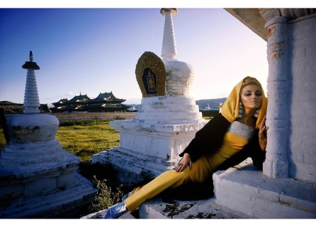 Samantha Jones Outer Mongolia Gold Cashmere at the Erdeni Dzuu Lamasary in Karakorum, 1966-1971