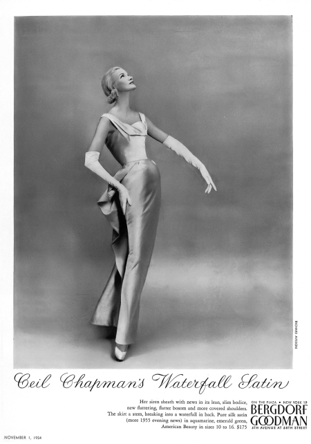 Sunny Harnett in stunning silk satin sheath by Ceil Chapman, at Bergdorf Goodman, photo by Richard Avedon, Vogue, November 1, 1954