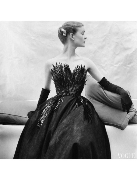 Susan Abraham in elaborately pailletted evening gown from Roecliff and Chapman, Vogue UK, December 1952