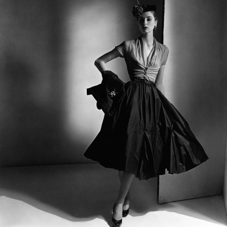 Suzy Parker - wearing a pleated skirt which fans out in a sexy riff on the hourglass figure of yore Dior © Horst P. Horst