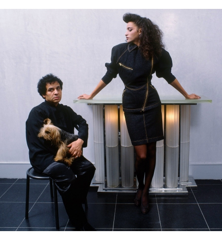 With model Farida, and his beloved pet dog 1983 getty