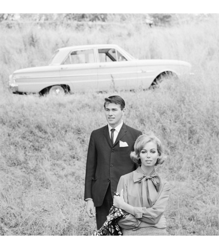 Fashion Illustration for Pelaco shirts and Ford falcon Models Jill Copner and Terence Donovan 1962
