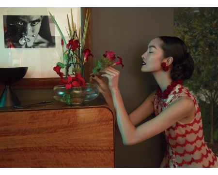 Fei Fei Sun wears a Simone Rocha vogue-march-2017 © mert & Marcus