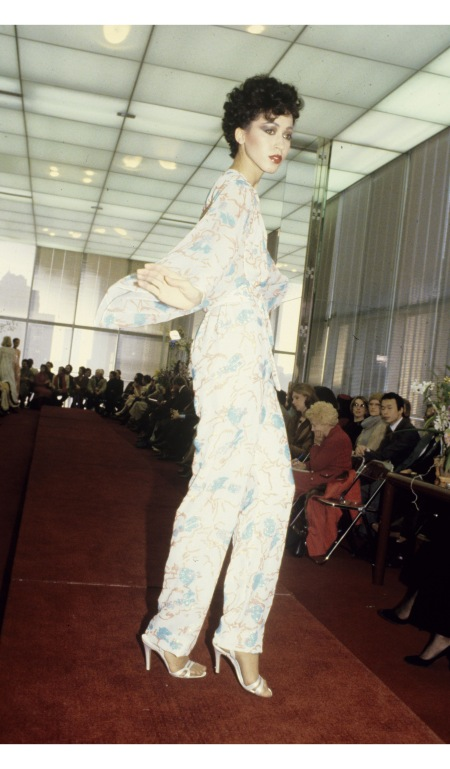 Halston shows were New York's hottest ticket back in the 1970s. Here's Pat Cleveland modelling a slinky jumpsuit from his spring 1979 show