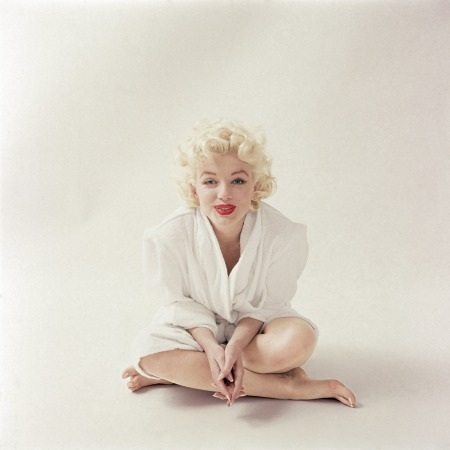 In March 1955, Milton shot Marilyn just after she finished her makeup, sporting a white terrycloth robe