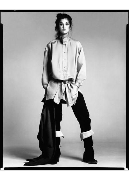 Janice Dickinson, blouse and pants by Issey Miyake, New York, April 27, 1977
