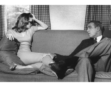 Lee Remick & Jimmy Stewart relaxing on set of Anatomy of a Murder.