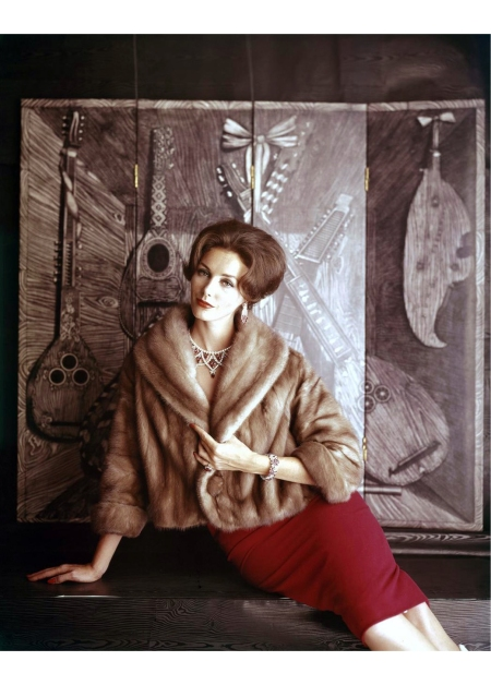 Lucinda Hollingsworth in EMBA mink jacket by Schiaparelli, ruby and diamond necklace by Cartier 1959