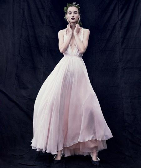 Maartje Verhoef wears a Dior silk chiffon dress vogue-march-2017 © Mikael Jansson