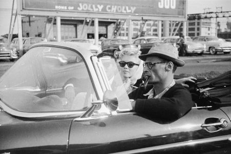 Marilyn Monroe and Arthur Miller ride in a Thunderbird in 1956 NYC 1956