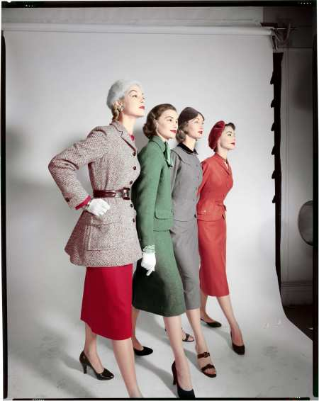 Models, left to right Jean Patchett, X, Evelyn Tripp, Nancy Berg Test 1952 © Erwin Blumenfeld