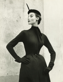 Myrtle Crawford is wearing Dior's design called Fourmi epitomizing his molded shape made out of black jersey entirely lined Vogue Sept 1957 © Frances McLaughlin-Gill b