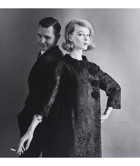 Nena von Schlebrugge and Bob Rice and Monique Chevalier modeling a Maximilian broadtail coat with a diamond bracelet and cigarette 1962