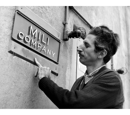 Photographer Gjon Mili outside his office on Warner Bros. lot where he is directing film, Jammin' the Blues. 1944