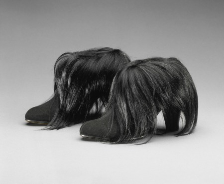 Schiaparelli Boots René Magritte_s painting Love Disarmed inspired Elsa Schiaparelli_s black suede and monkey fur boots, 1938