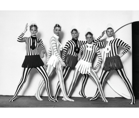 Striped Jersey Bodysuits With Wool Strip Skirts, Haute Couture Fall 1968