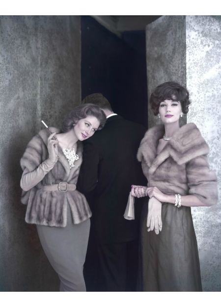 Suzy Parker and Simone d'Aillencourt wearing mink jackets by Holt Renfrew & C° (Fur Clothing) 1959 © Virginia Thoren