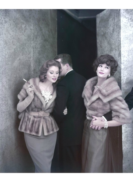 Suzy Parker and Simone d'Aillencourt wearing mink jackets by Holt Renfrew & C° (Fur Clothing) b