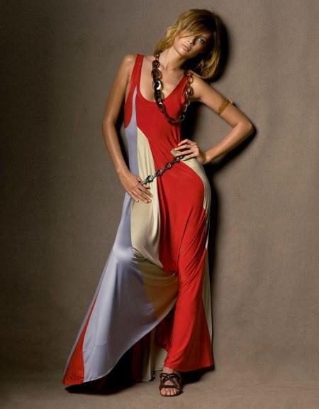 Tiiu Kuik in a Calvin Klein Collection color-block jersey dress Vogue April 2005 © Steven Meisel