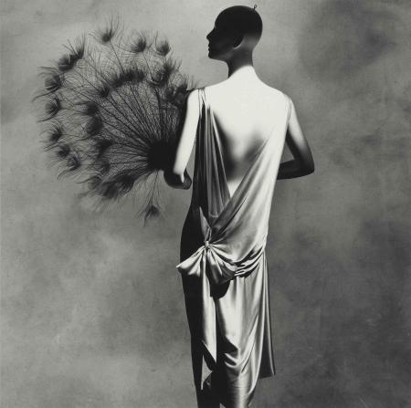 Vionnet Dress with Fan, New York, 1974 penn