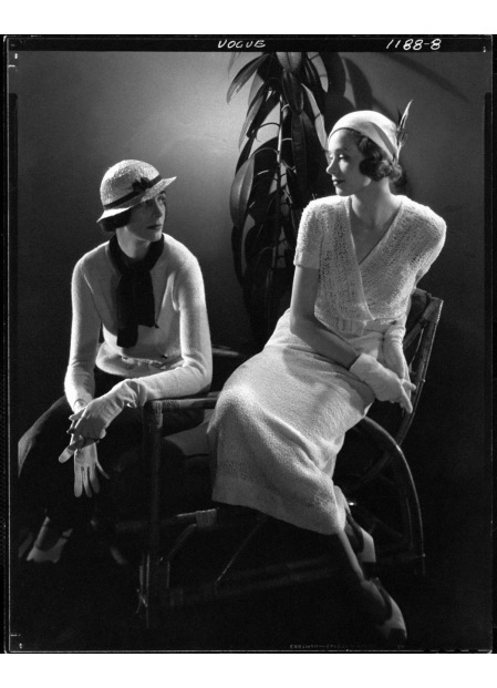 A - styled Steichen photo shoot from 1932—shot originally for Vogue—shows two models in the new daywear a knitted skirt suit and a knit dress, both by American labels© Edward Steich