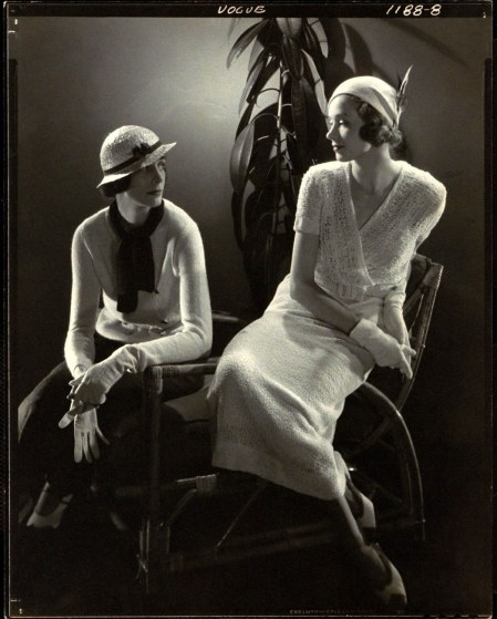 A styled Steichen photo shoot from 1932—shot originally for Vogue—shows two models in the new daywear a knitted skirt suit and a knit dress, both by American labels© Edward Steichen
