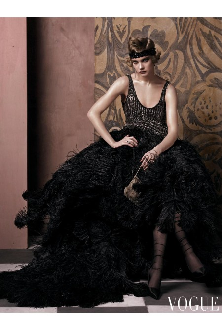 Alexander McQueen metal-ring tank and black ostrich-feather skirt