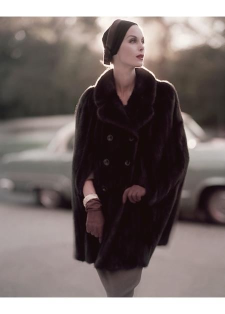 Anne St Marie wearing a fur cape from Maximilian nov 1955
