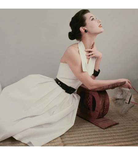 Barbara Mullen in white cotton piqué halter dress with black patent leather belt, photo by Frances McLaughlin-Gill, June 1952