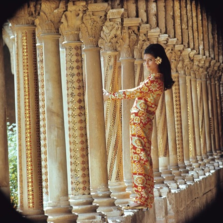 Benedetta in Monreale, Sicily wearing an evening dress by Valentino dec1967