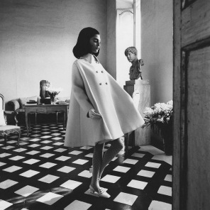 Benedetta wearing a Nattier wool gabardine Fabiani tent-coat march 1968 copia