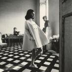 Benedetta wearing a Nattier wool gabardine Fabiani tent-coat march 1968