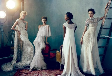 Caroline Trentini, Kasia Struss, Jourdan Dunn, and Miranda Kerr, all in Marchesa Vogue, Feb. 2013 © Norman Jean Roy