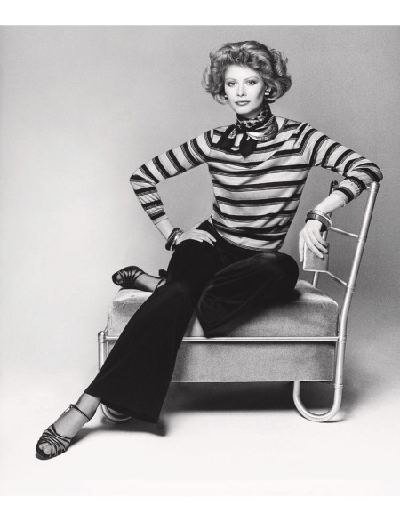 Charly Stember sitting on a chair wearing a striped blouse aug 1974