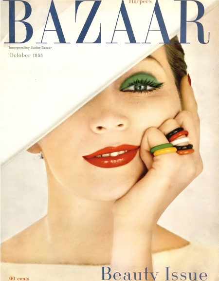 Dovima, cover by Richard Avedon, Harper's Bazaar, Beauty Issue, October 1955