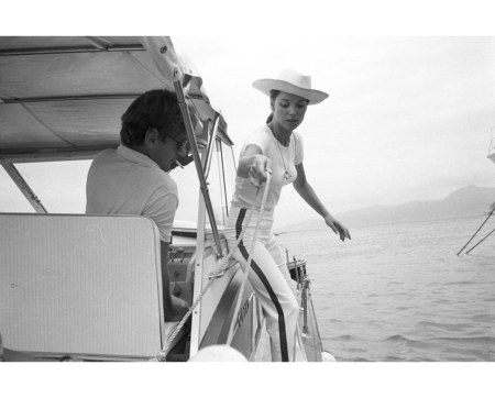 Elsa Martinelli And Willy Rizzo, photographer and secon Hausband in a Boat 1965