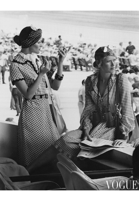 Emaunelle, Susan Schoenberg and unknown model Models Wearing Checked Shirtdresses At Hialeah may 1972