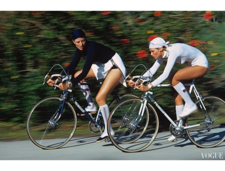 Emaunelle, Susan Schoenberg cycling in headscarves, bodysuits, socks and sneakers sept 1972