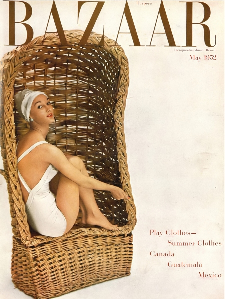 Evelyn Tripp in white celanese acetate satiny bathing suit by Rose Marie Reid, cover photo by Richard Avedon, Harper's Bazaar, May 1952 copia