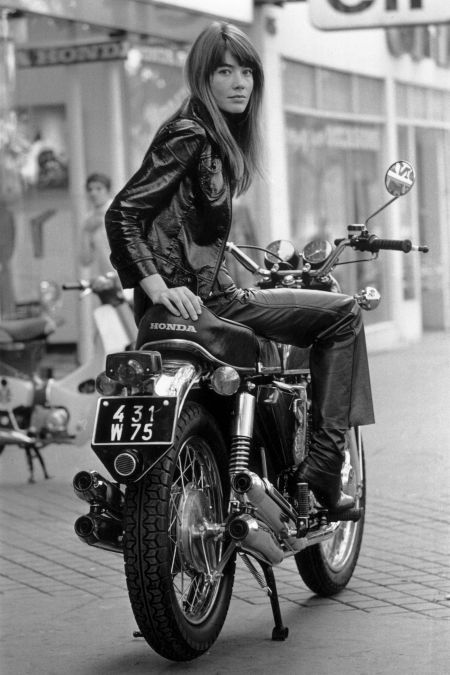 Francoise Hardy sitting on a motorbike.1969 (Photo by Reg Lancaster:Express:Getty Images)