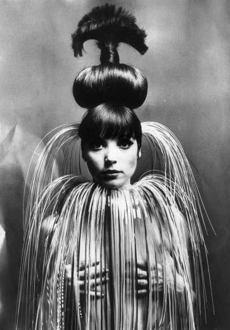 Italian fashion model and actress Elsa Martinelli wearing her hair in a giant topknot Aug 1966