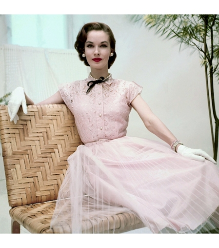 Janet Randy in pink cotton lace dress, photo by Frances McLaughlin-Gill, Glamour June 1952