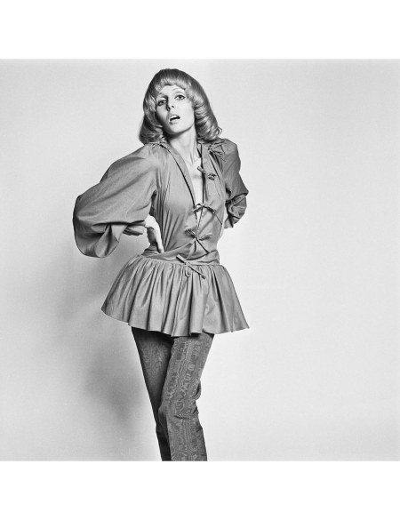 Kari Ann poses wearing a dress over pants outfit in the style of Mick Jagger, 8th July 1969